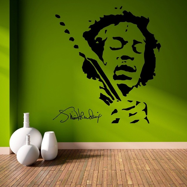 Free Shipping Jimmy Hendrix Music Pop Star Vinyl Wall Art Room Sticker Decal Door Window