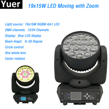 19x15W RGBW 4in 1 Wash/Zoom Professional DJ/Bar Osram Ostar led lamp DMX512 Moving Head Light Beam circle control stage