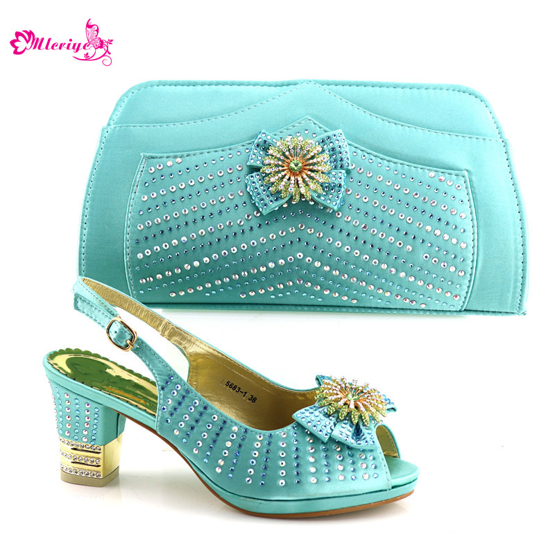 5683-1 Shoes and Bag Set for Party In Women Nigerian Women Wedding Shoe and Bag Set Decorated with Rhinestone African Shoes doershow african women talian shoes and bag set ladies italian shoe and bag set decorated with rhinestone nigerian party bb1 1