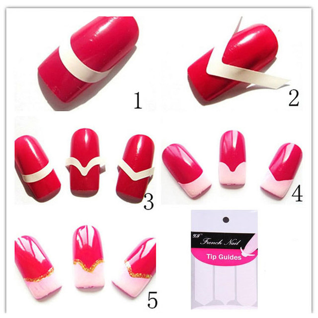 5pcs Nails Sticker Tips Guide French Manicure Nail Art Decals ...