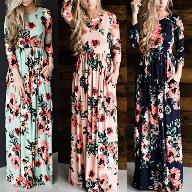 Sale Women's Clothing Multicolor Summer Autumn Long Dress Beach Sundress Floral High Waistline Evening Party Dress