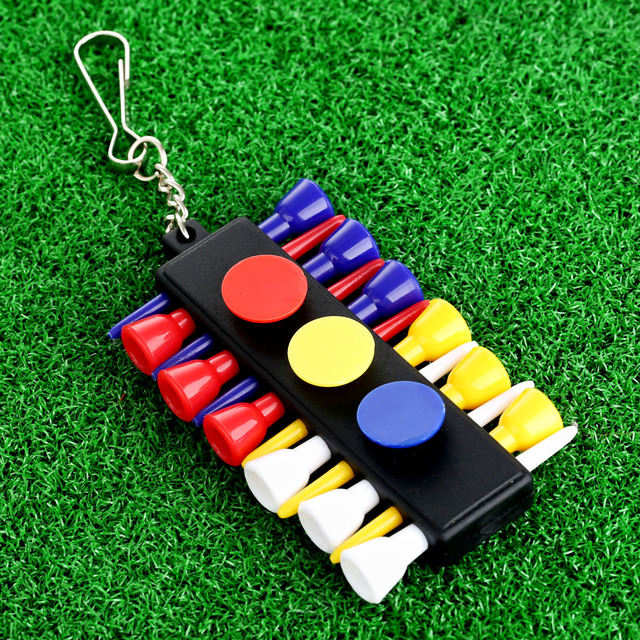 1 set פלסטיק גולף Tees מחזיק מעמד מוביל עם 12 יחידות גומי גולף כדור טיז & כיס Keychain חיצוני גולף עזרי הדרכה