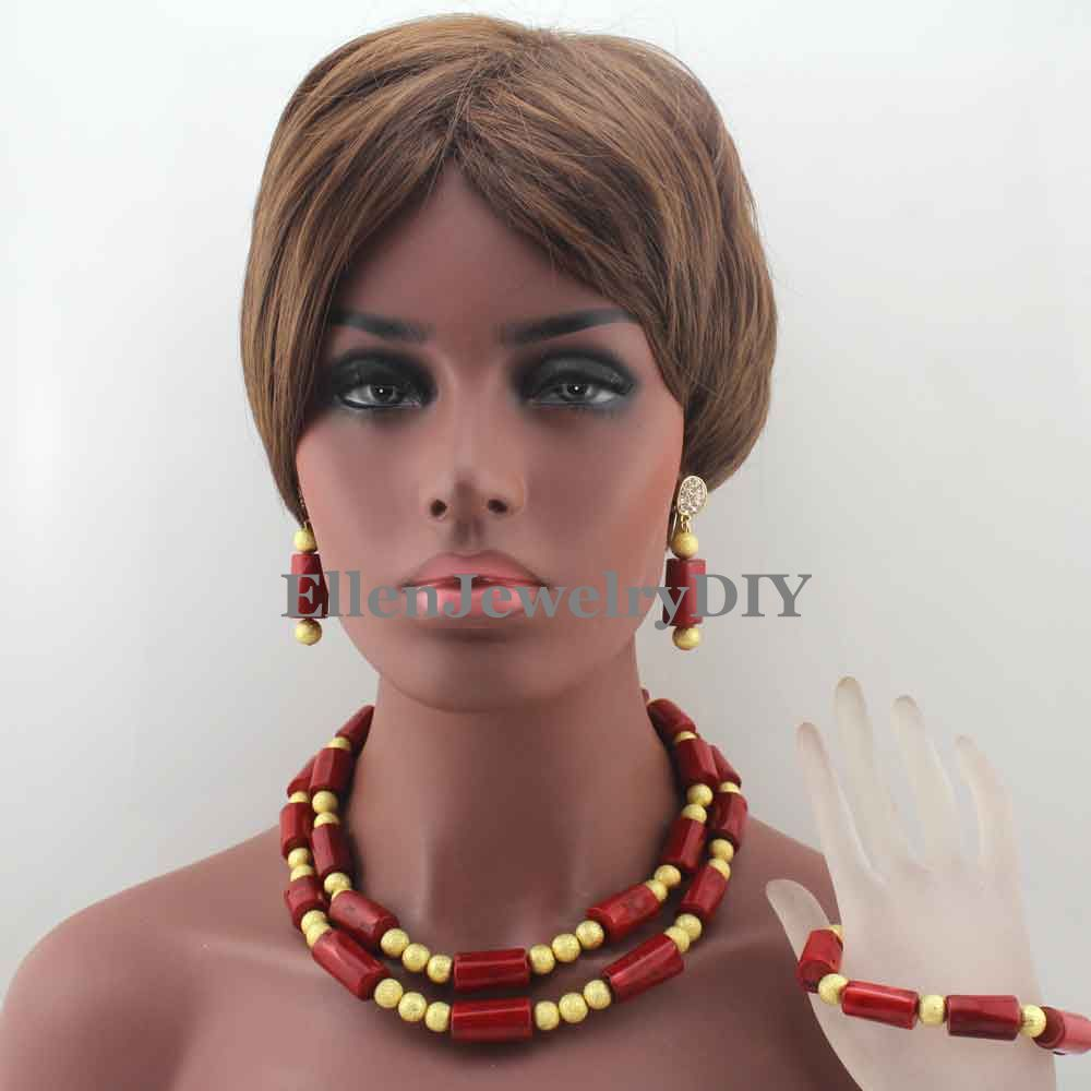 Fashion Natural Red Coral Bead Necklace Sets Nigieran Wedding African Coral Beads Jewelry Set Free Shipping W13371Fashion Natural Red Coral Bead Necklace Sets Nigieran Wedding African Coral Beads Jewelry Set Free Shipping W13371