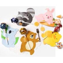50 шт. милые животные утка медведь конфеты Леденец Украшения Карты Свадебные Дети День рождения принадлежности конфеты подарок аксессуары кролик