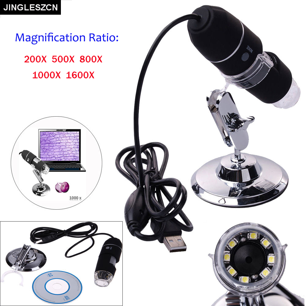 JINGLESZCN New Mega Pixels 8 LED USB Digital Microscope Endoscope Camera Electronics Microscopio Magnifier 1600X 1000X 800X 500X arrival 2 0m pixels usb hand held microscope with 8 led lights se v3 usb500 300