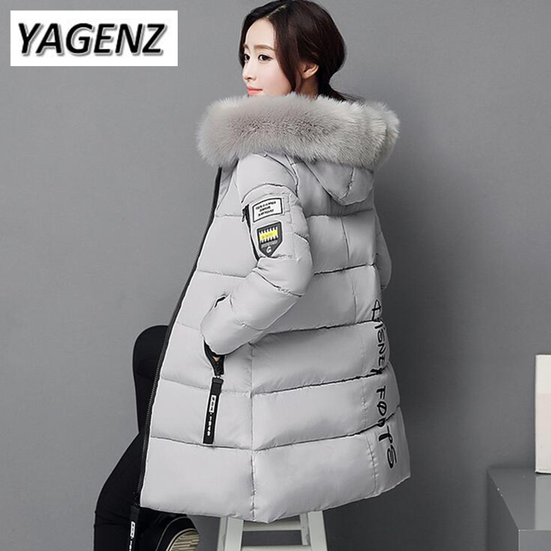 2018 Winter Women Jacket Coats Slim Medium long Down cotton Hooded Outerwear Thick Warm Casual Jacket Student Coat Lady Clothing winter women down jacket hooded thick warm cotton coat large size new style casual jacket slim long sleeve medium long coat 2580