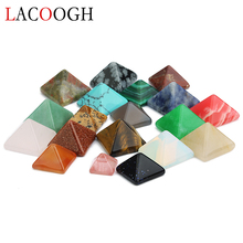 New Fashion 10pcs Flat Geometric Square Pyramid Natural Stone Cabochons Beads 8mm 12mm 14mm for DIY Jewelry Making Findings