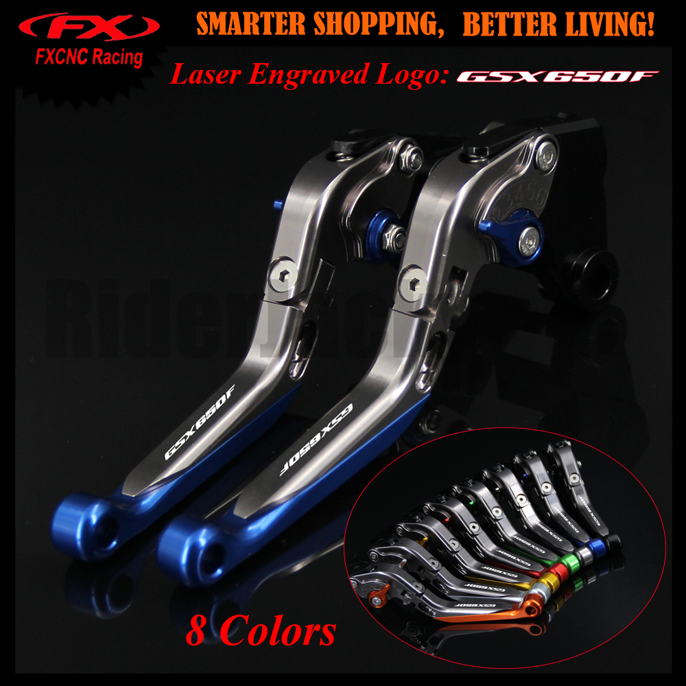 8 Color Blue+Titanium Motorcycle Adjustable CNC Brake Clutch Lever For Suzuki GSX650F GSX 650F GSX650 F 2008-2015 2012 2013 2014