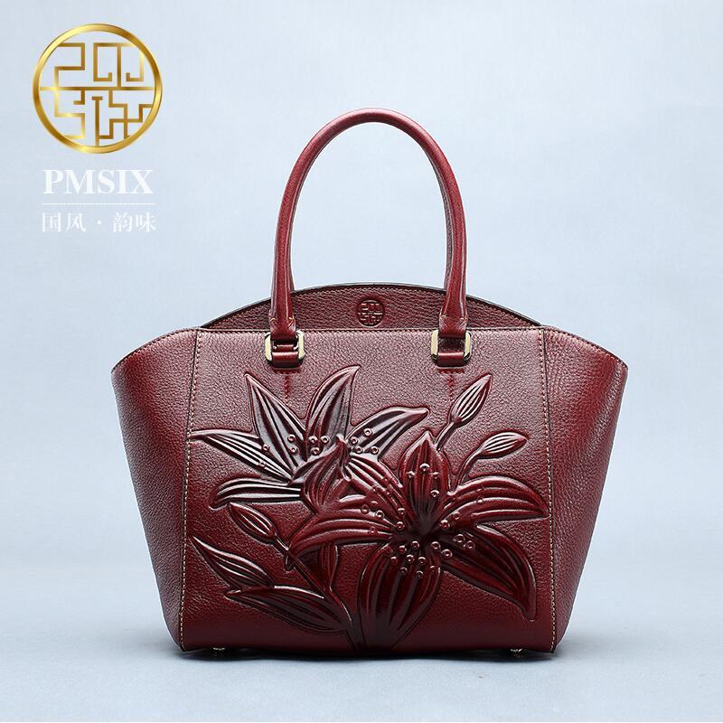 Genuine Leath  women bag  Pmsix New China wind embossed leather handbag Fashion retro Messenger bag  Wings bag