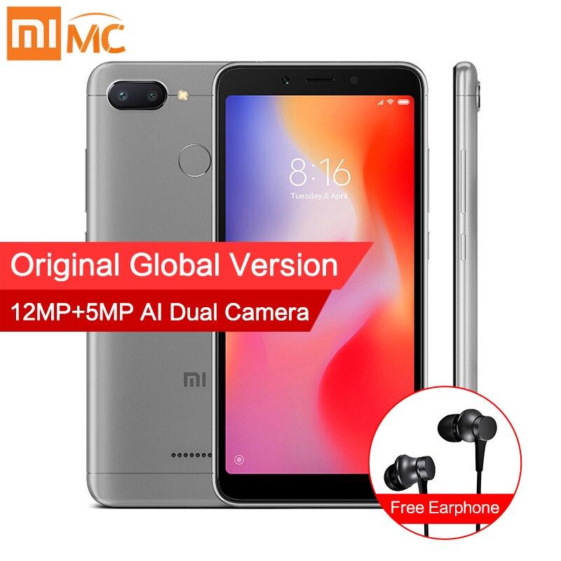 Em Estoque Global Versão Xiaomi Redmi 6 4 gb 64 gb Helio P22 MTK Octa Núcleo 5.45 Tela Cheia 12MP + 5MP AI Smartphone Dual Camera CE