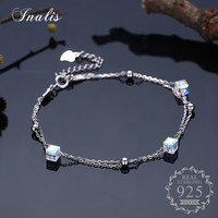 INALIS 925 Sterling Silver Cube Crystal Bracelets Bangles Luxury Fine Jewelry For Women Authentic Original Gift