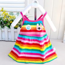 2016 summer baby clothes full cotton camisole girl rainbow skirt dress hello kitty bebek giyim next minnie kids