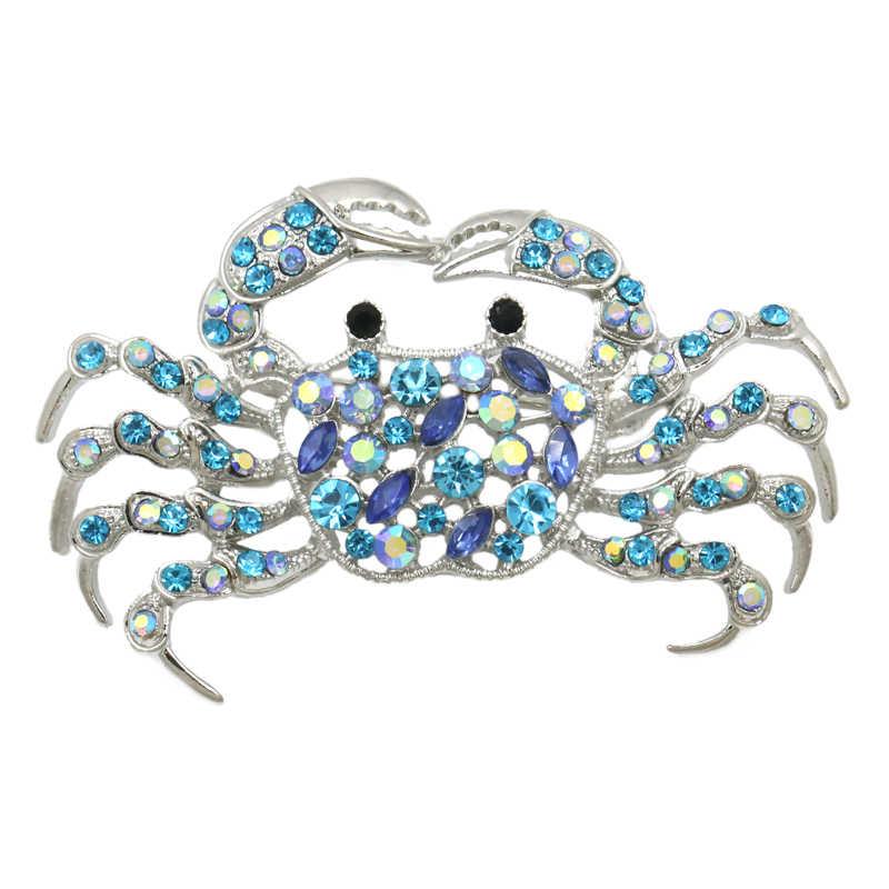Weimanjingdian Biru Muda AB Kristal Berlian Imitasi Fashion Kepiting Bros Pin Perhiasan untuk Wanita