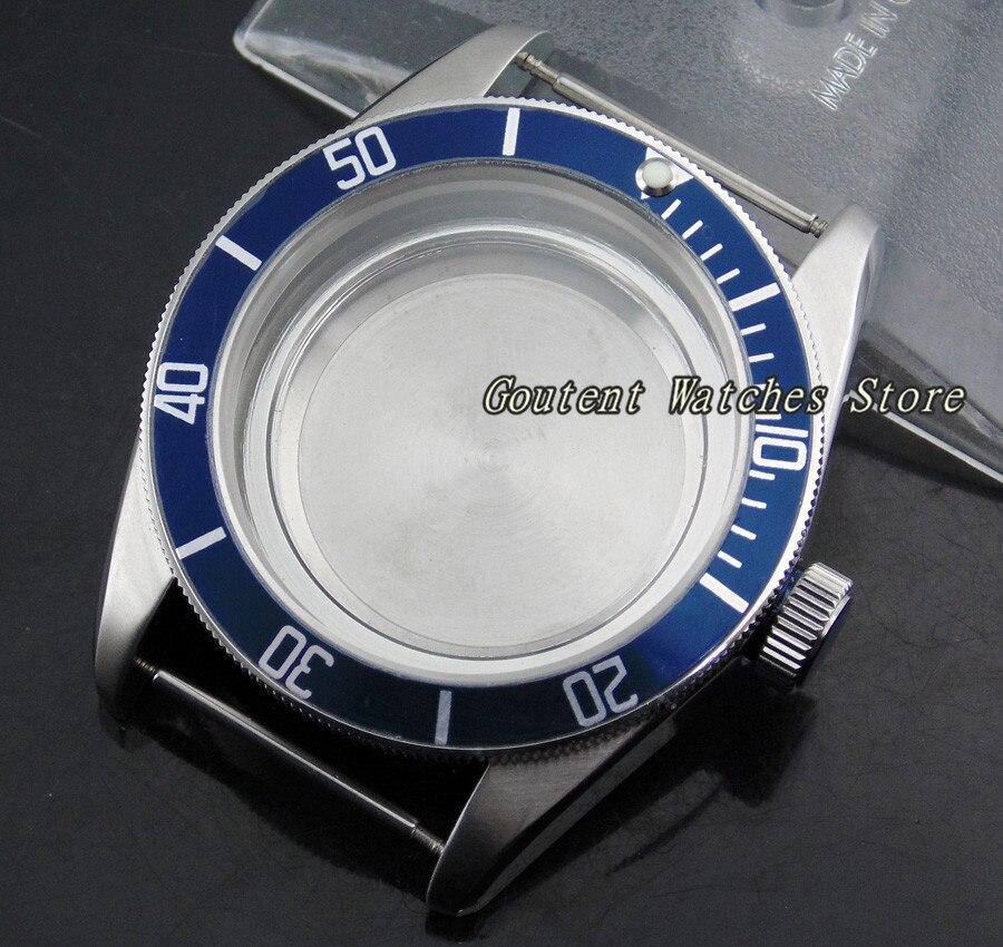 41mm Blue Bezel Sterile Sapphire Glass Watch Case Kit Miyota8205/8215,ETA 2836 Mingzhu 2813/3804 Wristwatch Shell