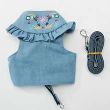 Dog Harness Vest Pet Puppy Leash Walking Traction Rope Jeans For Small Denim Pets Outdoors Accessories