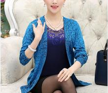 New design spring and autumn women's lace embroidery twin set sweater cardigan