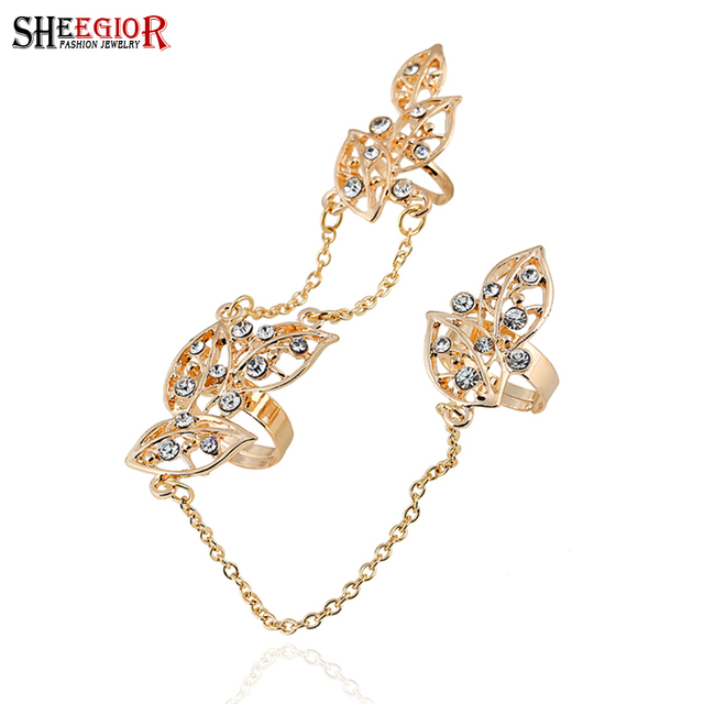 be16a9c111b95 SHEEGIOR Fashion Punk Gold Silver color Leaf Knuckle Ring Charm Rhinestone  Rings for Women Men Party Accessories Aros Anel Gifts-in Rings from Jewelry  ...