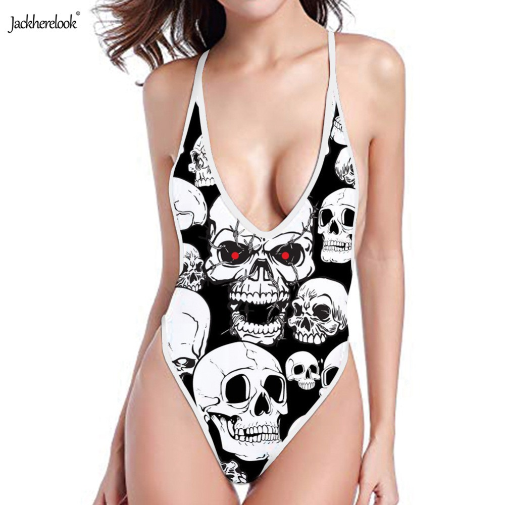 Jackherelook One Pieces Backless Swimsuit Punk Skull Head 3D Printed Off Shoulder Halter Bikinis Women Monokini Push Up Swimwear