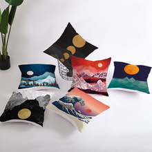 Nordic Style Whale Mountain Peaks Sun Home Decorative cushion cover Golden lines Geometric sofa pillow 45x45cm pillowcase