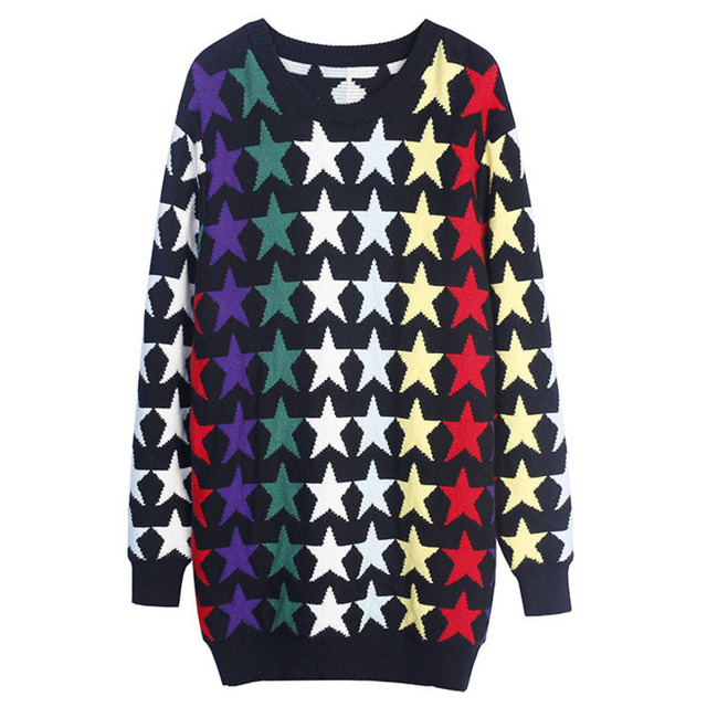Vefadisa Women Star Printing Sweater Pullover Loose Women Autumn Sweater 2018 Women Casual O-neck Sweater DQ0170