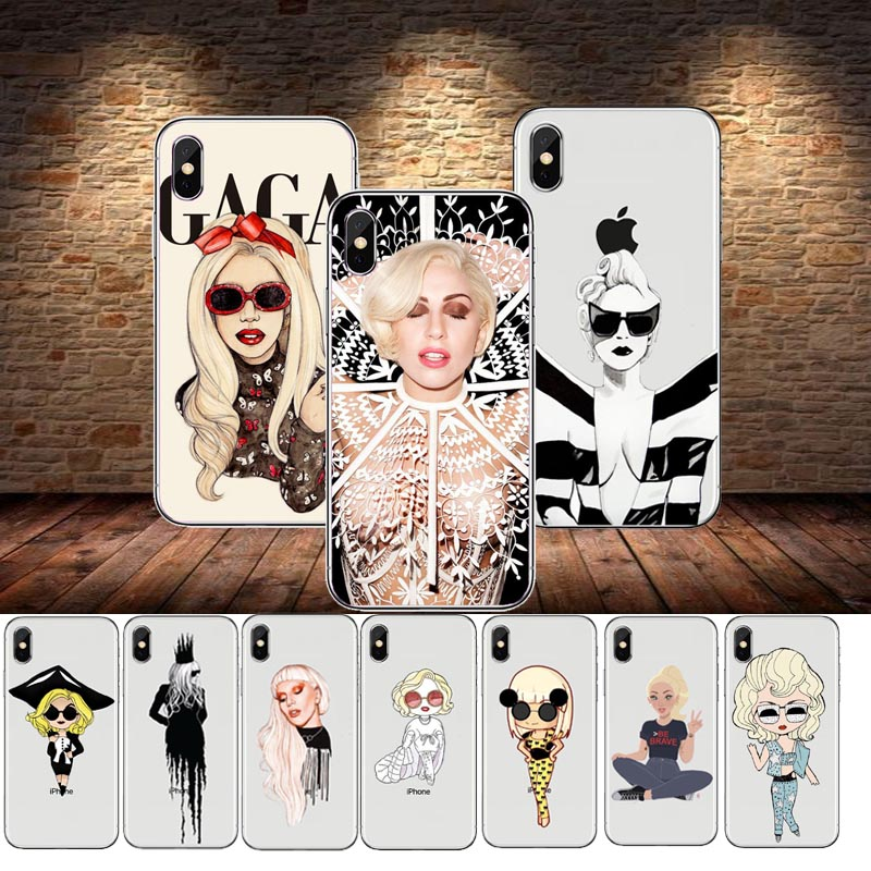 seracase Popular Singer Sexy Lady Gaga Phone Case Cover For iPhone5S SE 6 6S 6SPlus 7 7Plus 8 8Plus Soft silicone Case Cover