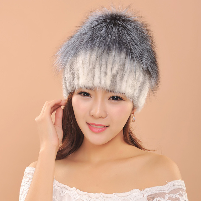 Winter hats Women Natural Genuine knitted mink fur hats with big fox fur ball beanie cap Female Cap