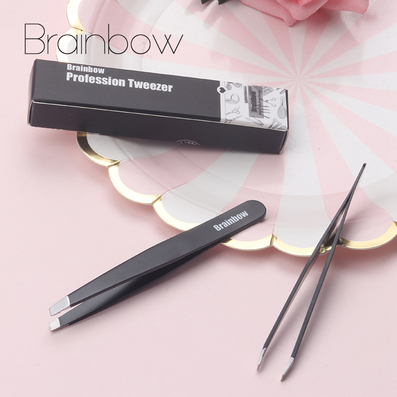 Brainbow 1pc Black Eyebrow Tweezer Eyelashes Extension Pinzette Double Eyelid Sticker Application Eyes Hair Removal Tool Make Up