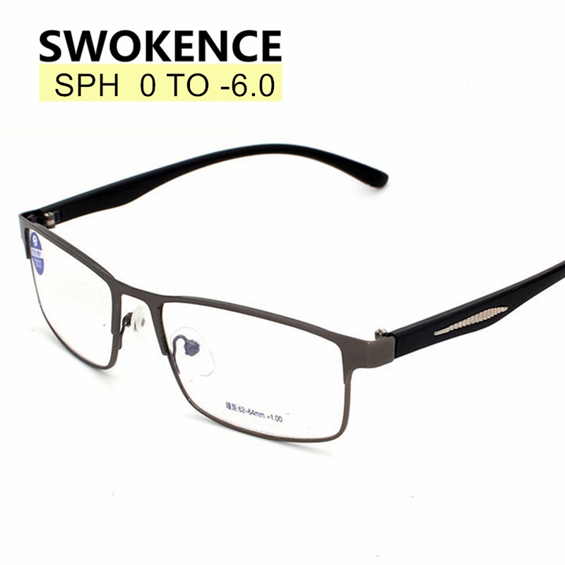 SWOKENCE Diopter -1.0 to -6.0 Finished Myopia Glasses Men Women Fashion Alloy Frame Spectacles For Myopia End Products F174