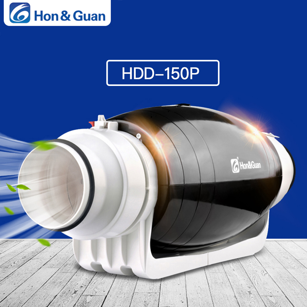 Hon Guan HDD 150P Exhaust Fan Ultra Silent Mixed flow Inline Duct for Residential Commercial Bathroom