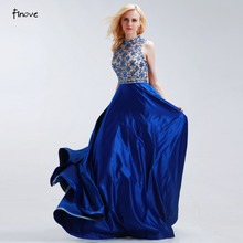 Finove Royal Blue A-Line Prom Dresses 2017 New Elegant with Beading High Neck Sleeveless Satin Bridesmaid Gowns Vestido de Festa