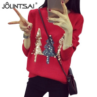 JOLINTSAI 2017 New Fall Winer Women Christmas Sweater Sequins Pearl Knitting Sweaters Casual Pullovers Female Warm