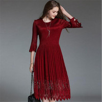 2018 High End New Summer Women Dress Half Sleeve Black Red Party Ladies Dress Casual Female