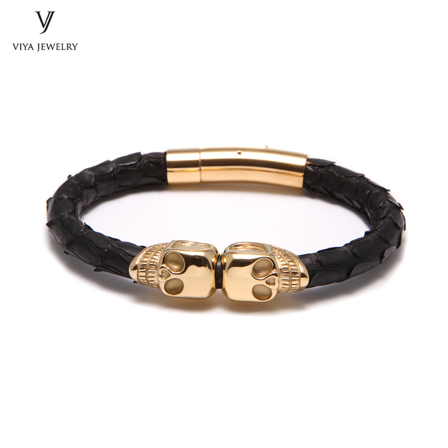 3bffe73f840 6mm Real Black Python Leather Skulls Bracelets Charm Twins Skull Men Leather  Bracelet With Gold-Color Double Skull Best Men Gift
