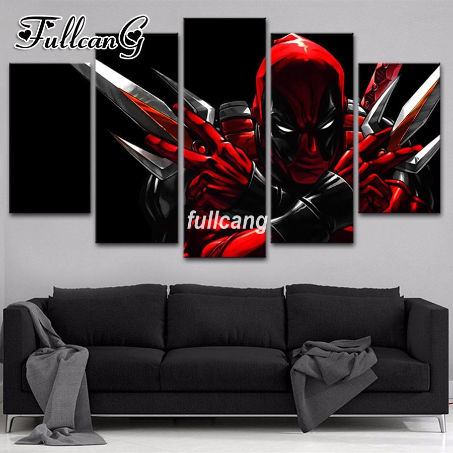 FULLCANG 5Pcs/set Diy Full Square Diamond Embroidery Movie Character Deadpool Diamond Painting Cross Stitch Mosaic Kits G214