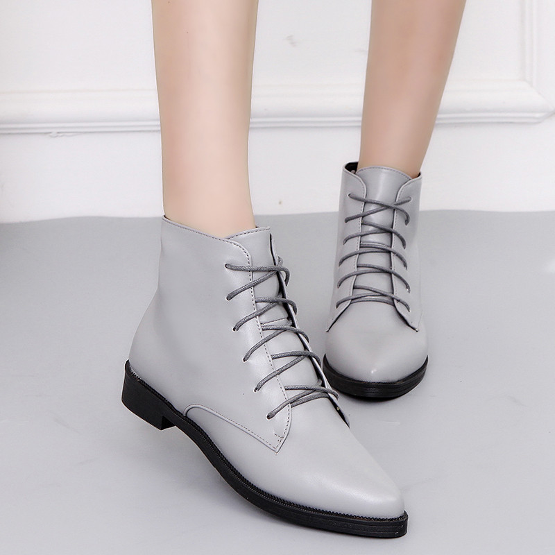 Soft Leather Pointed Toe Knight Ankle Boots Spring Autumn Chunky Botas All-match Black Gray Boots Lace-up Flat Heel Women Shoes british men ankle boots spring autumn pointed toe soft genuine leather botas hombre cowboy military booties wedding dress shoes