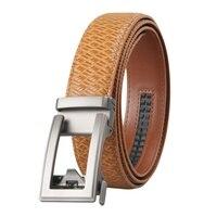 Brand Men's Leather Genuine Leather Belt Men High Quality Ratchet Dress Belt With Automatic Buckle Brown Mens Belts 3.5 cm width