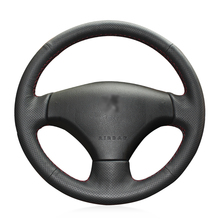 Hand-stitched Black Artificial Leather Antu-slip Soft Comfortable Car Steering Wheel Cover for Peugeot 206 2007-2009 207