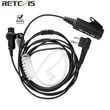 Retevis EA100M 2 פין גדול מיקרופון PTT אקוסטית צינור רדיו אפרכסת אוזניות עם למוטורולה CP040/CP100/GP2000 ווקי טוקי