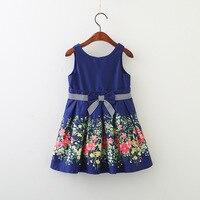 Baby Girls Sling Print Bow Vset Dresses Korean Spring Summer Children Dress Girls Flowers Princess Sleeveless
