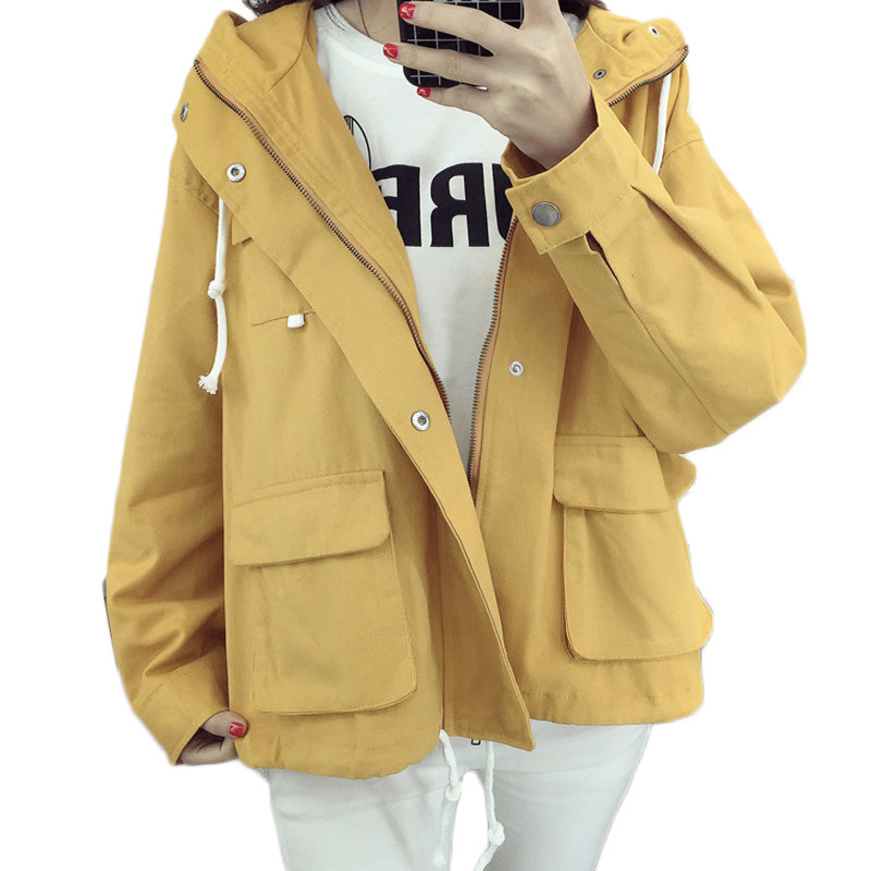 Women's Classic Hooded Short   Trench   Coat 2017 Spring European Femme   Trench   Coat Loose Fit Zipper Fashion Solid Outwears XH078