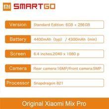 Original Xiaomi Mi MIX Pro Mobile Phone Snapdragon 821 6GB RAM 256GB ROM 6.4″ 2040x1080P FHD Edgeless Display