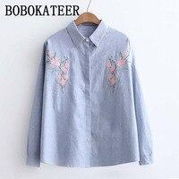 BOBOKATEER Long Sleeve Embroidery Blouse Striped Shirt Women Blouses Shirts Ladies Tops Blusas Mujer De Moda