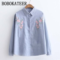 BOBOKATEER Long Sleeve Embroidery Blouse Striped Shirt Women Blouses Shirts Ladies Tops Blusas Mujer De Moda