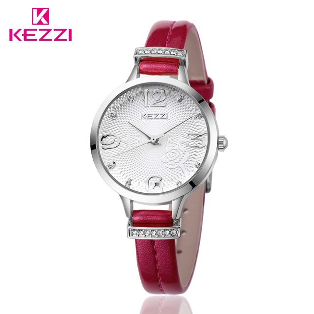 KEZZI Brand Rhinestone Fashion Style Quartz Watch Six Colors Leather Strap Female Watches Women Favorites-Slim-Strap New Watches