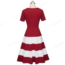 Nice-forever 1950s Retro Contrast Color Patchwork Round Neck Female vestidos Business Party Flare A-Line Women Dress A142