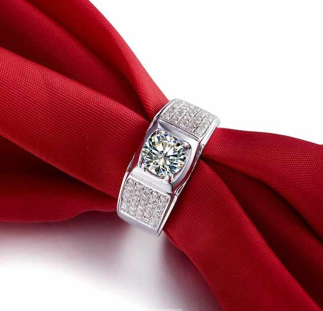 Solide 925 Sterling Silber Mann Ring 1Ct Funken Synthetische Diamant Männer Ring Ehering Luxus Schmuck Weißgold Farbe