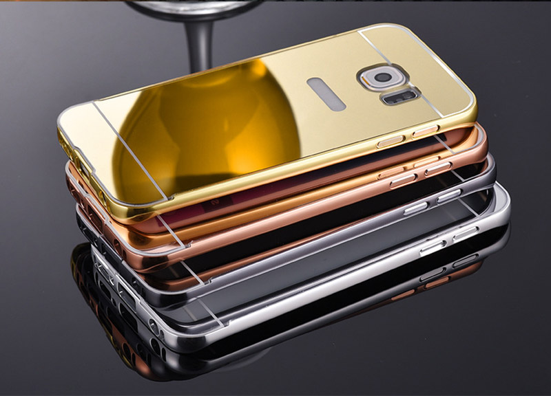 new product d5ac6 2c1a1 US $3.74 |S6 S7 Case Gold Plated Aluminum Metal Frame+Mirror Acrylic Back  Case For Samsung Galaxy S6/S6 edge S7 S7Edge Note5 Note4 S5 Hard-in Fitted  ...