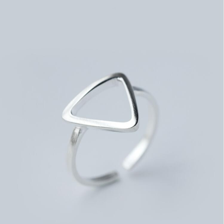 Jisensp ювелирные изделия в стиле минимализма серебряные геометрические кольца для женщин с регулируемой окружностью треугольник сердцебиение кольца на фаланги pour femme - Цвет основного камня: SYJZ002