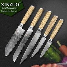XINZUO 5 pcs kitchen knife set Damascus kitchen knife Japanese VG10 chef cleaver utility knife logs wood handle free shipping