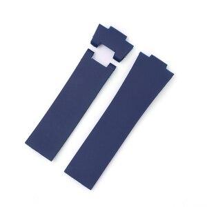 Image 2 - CARLYWET 25*12 ミリメートル卸売ブラックブラウンブルー防水シリコーンゴム交換手首時計バンドストラップベルト Ulysse ナーディン